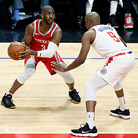 28 February 2018: LA Clippers guard C.J. Williams (9) defends on Houston Rockets guard Chris Paul (3) during the Houston Rockets 105-92 victory over the LA Clippers, at the Staples Center, Los Angeles, California, USA.