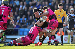 Dave Ewers of Exeter Chiefs is double-tackled - Photo mandatory by-line: Patrick Khachfe/JMP - Mobile: 07966 386802 07/03/2015 - SPORT - RUGBY UNION - Exeter - Sandy Park - Exeter Chiefs v London Welsh - Aviva Premiership