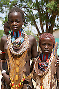 Africa, Ethiopia, Omo River Valley Hamer Tribe The hair is coated with ochre mud and animal fat
