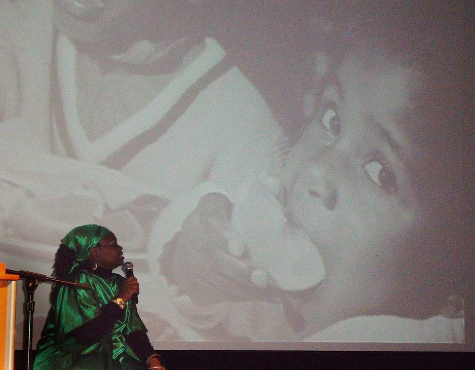 """Performance poet and author Ge'ylah Jones performs her one-woman show titled """"A Kwanzaa Celebration."""" during a annual Pre-Kwanzaa celebration on Nov. 28 Baker University Center Theatre."""