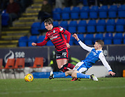 30th December 2017, McDiarmid Park, Perth, Scotland; Scottish Premiership football, St Johnstone versus Dundee; Dundee's Scott Allan goes past St Johnstone's David Wotherspoon