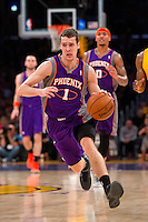 16 November 2012: Guard (1) Goran Dragic of the Phoenix Suns dribbles the ball up the court against the Los Angeles Lakers during the first half of the Lakers 114-102 victory over the Suns at the STAPLES Center in Los Angeles, CA.