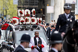 © Licensed to London News Pictures. 10/04/2017. London, UK. The funeral of PC Keith Palmer at Southwark Cathedral. PC Palmer was stabbed to death at the entrance to Parliament by Khalid Masood on 22 March 2017. Masood also drove a vehicle into people on Westminster bridge, killing four. Photo credit : Tom Nicholson/LNP
