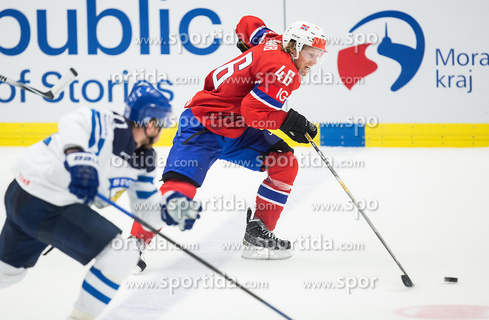 Mathis Olimb of Norway during Ice Hockey match between Norway and Finland at Day 4 in Group B of 2015 IIHF World Championship, on May 4, 2015 in CEZ Arena, Ostrava, Czech Republic. Photo by Vid Ponikvar / Sportida