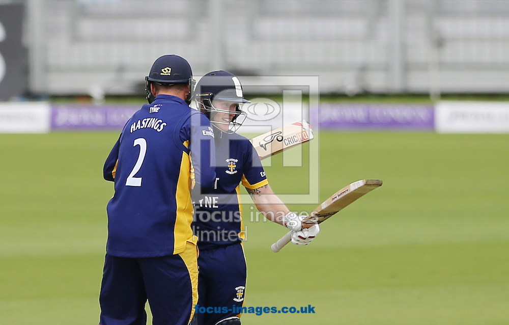 Ben Stokes of Durham County Cricket Club is congratulated by John Hastings after hitting 150 during the Royal London One Day Cup match at Emirates Durham ICG, Chester-le-Street<br /> Picture by Simon Moore/Focus Images Ltd 07807 671782<br /> 06/09/2014