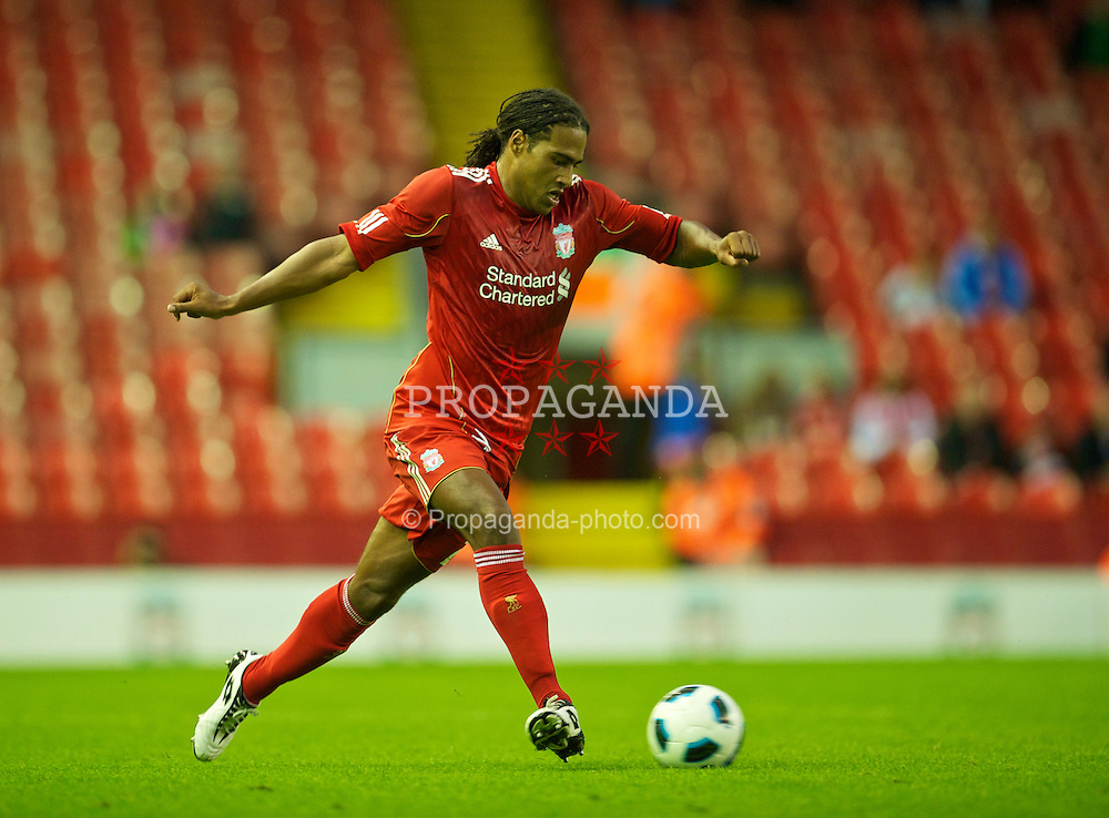 LIVERPOOL, ENGLAND - Thursday, August 5, 2010: Liverpool's Glen Johnson in action against FK Rabotnicki during the UEFA Europa League 3rd Qualifying Round 2nd Leg match at Anfield. (Pic by: David Rawcliffe/Propaganda)
