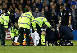 Biram Kayal of Brighton & Hove Albion receives treatment after picking up an injury - Mandatory by-line: Robbie Stephenson/JMP - 13/05/2016 - FOOTBALL - Hillsborough - Sheffield, England - Sheffield Wednesday v Brighton and Hove Albion - Sky Bet Championship Play-off Semi Final first leg