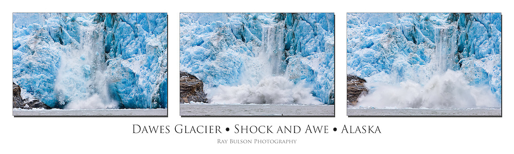 Calving ice from Dawes Glacier creates an explosion of water in the Endicott Arm fjord of Tracy Arm - Fords Terror Wilderness in the Inside Passage of Southeast Alaska  Summer.  Afternoon. Triptych.