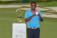 Co-runner up Rayhan THOMAS (IND) following Rd 4 of the Asia-Pacific Amateur Championship, Sentosa Golf Club, Singapore. 10/7/2018.<br /> Picture: Golffile | Ken Murray<br /> <br /> <br /> All photo usage must carry mandatory copyright credit (© Golffile | Ken Murray)