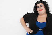 Overweight Woman posing and Smiling portrait