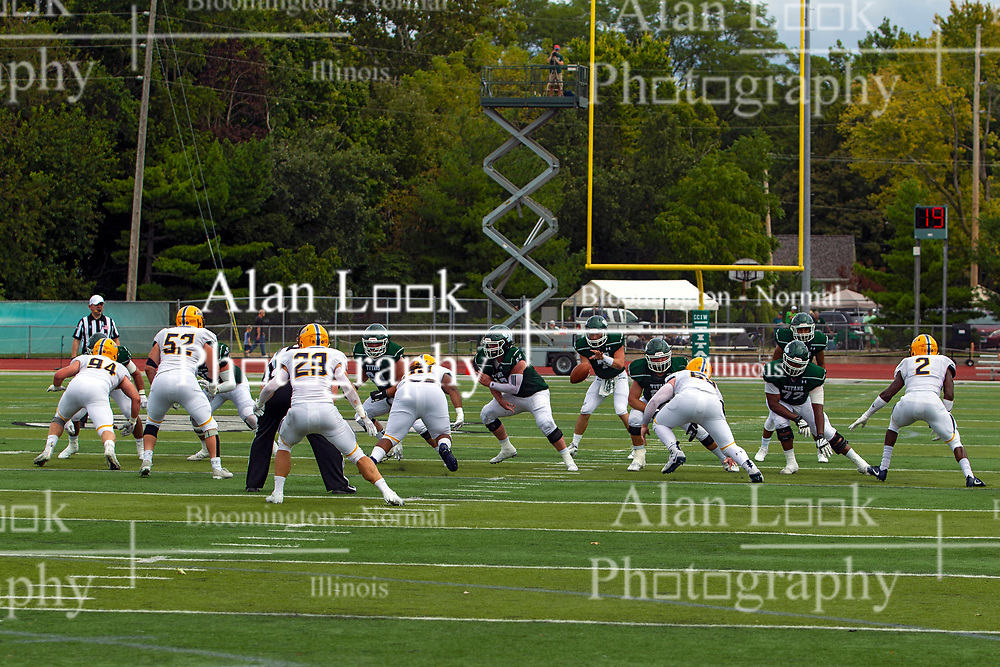 BLOOMINGTON, IL - September 28:  Brandon Bauer takes a snap during a college football game between the IWU Titans and the Augustana Vikings on September 28 2019 at Wilder Field in Tucci Stadium in Bloomington, IL. (Photo by Alan Look)