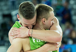 Klemen Prepelic of Slovenia and Alen Omic of Slovenia celebrate after winning during basketball match between Slovenia and Georgia at Day 2 in Group C of FIBA Europe Eurobasket 2015, on September 6, 2015, in Arena Zagreb, Croatia. Photo by Vid Ponikvar / Sportida