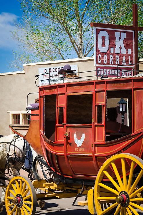 Horse drawn stagecoach at the O.K. Corral, Tombstone, Arizona USA