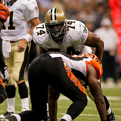 2009 August 14: New Orleans Saints offensive tackle Jermon Bushrod (74) lines up for a play during 17-7 win by the New Orleans Saints over the Cincinnati Bengals in their preseason opener at the Louisiana Superdome in New Orleans, Louisiana.