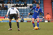 Oldham Athletic Defender, Danny Lafferty on the ball  during the Sky Bet League 1 match between Oldham Athletic and Bury at Boundary Park, Oldham, England on 23 January 2016. Photo by Mark Pollitt.
