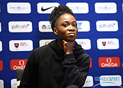 Tianna Bartoletta (USA) during a news conference at the Intercontinental Doha Hotel-The City, Thursday, May 2, 2019, in Doha, Qatar prior to the 2019 IAAF Diamond League Doha meeting. (Jiro Mochizuki/Image of Sport)