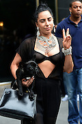 June 12, 2014 - New York, New York, U.S. - <br /> <br /> Lady Gaga Leaves New York Apaprtment<br /> <br /> Singer LADY GAGA wears a black jumpsuit, large necklace and carries a pug dog as she leaves her apartment. <br /> ©Exclusivepix