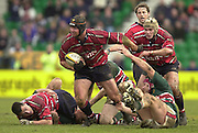 © Peter Spurrier/ Intersport Images.Photo Peter Spurrier.01/03/2003 Sport - Semi final Powergen Cup Rugby -.Leicester  v Gloucester - Franklin Gardens.Jake Boer drives out of the break with the ball..