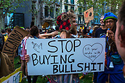 Stop Buying Bullshit! Climate Strike, Fridays for the Future, September 28, 2019. 20,000 people took to the streets, joining more than 7 million worldwide calling for climate action.  At <br /> Jardins de Salvador Espriu<br /> , Gracia, and Diagonal, Barcelona