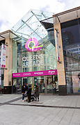 Entrance to Queens Arcade shopping centre, Queen Street, Cardiff, South Wales, UK