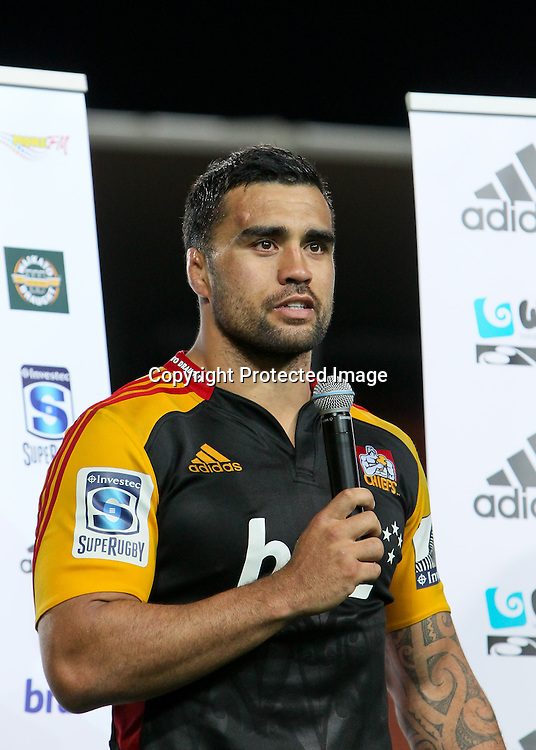 Chief's captain Liam Messam during a special presentation to celebrate his 100 games for the Chiefs franchise. Super 15 Rugby match - Chiefs v Highlanders, 22 March 2013, Waikato Stadium, Hamilton, New Zealand.  Photo: Bruce Lim / photosport.co.nz