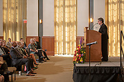 Distinguished Professor Susan Burgess speaks at the Faculty Staff Convocation. Photo by Ben Siegel