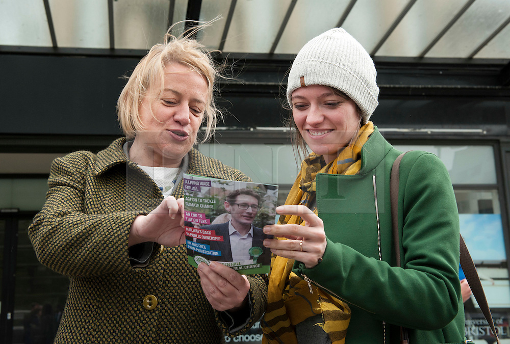 © Licensed to London News Pictures.  06/05/2015. Bristol, UK.  Picture of Natalie Bennett, leader of the Green Party with Jack Monroe, campaigning in the Bristol West seat.  Author and Food Poverty Campaigner, Jack Monroe, came to Bristol West to support Green Party PPC Darren Hall in one of the Green Party's key target constituencies. Monroe met Hall alongside Green Party Leader, Natalie Bennett.  Photo credit : Simon Chapman/LNP
