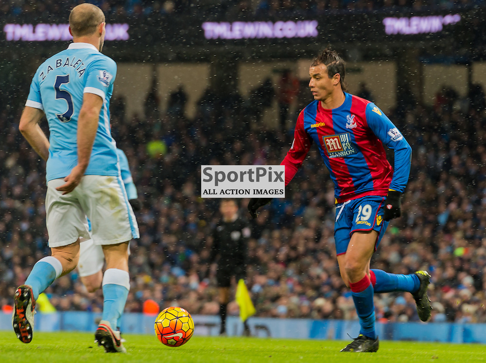 Crystal Palace forward Marouane Chamakh (29) tries to pass Manchester City defender Pablo Zabaleta (5)