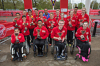 Group shot of all of the winners of the various categories of the Virgin Giving Mini London Marathon 2015 with Tottenham and England star Andros Townsend who presented their trophies, Sunday 26th April 2015.<br /> <br /> Neil Turner for Virgin Money London Marathon<br /> <br /> For more information please contact Penny Dain at pennyd@london-marathon.co.uk