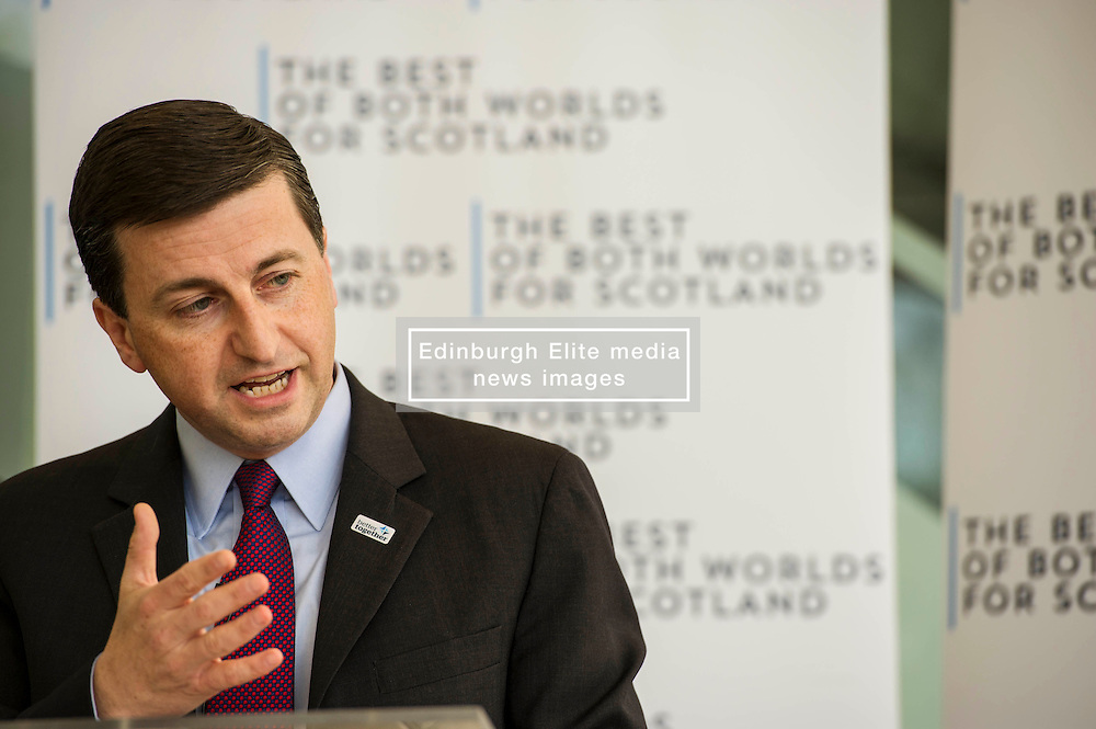 """Shadow Foreign Secretary Douglas Alexander was joined by Sir Kenneth Calman, chair of the Calman Commission,  at an event to mark the 20th anniversary of the death of Labour Leader John Smith and the 15th Anniversary of the first sitting of the Scottish Parliament. Mr Alexander made the case that, as part of theUK,Scotland can have """"a strong Scottish Parliament, with the guarantee of more powers, backed up by the strength, security and stability of being part of the largerUK"""". 12 May 2014 (c) GER HARLEY 