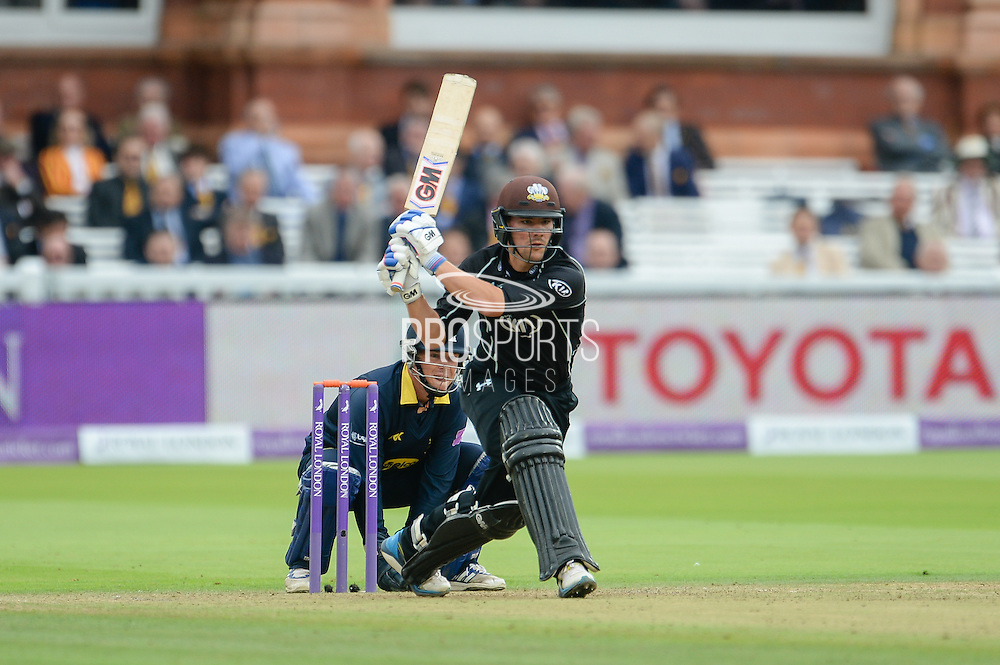 Rory Burns of Surrey batting during the Royal London One Day Cup match between Warwickshire County Cricket Club and Surrey County Cricket Club at Lord's Cricket Ground, St John's Wood, United Kingdom on 17 September 2016. Photo by David Vokes.