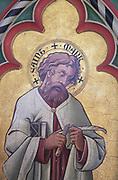 Victorian painting of Saint Mark, Church of Saint Mary, Uggeshall, Suffolk, England, UK