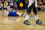 Kristaps Porzingis #46 of the New York Knicks reacts after being fouled against the San Antonio Spurs during an NBA Summer League game in Las Vegas, Nevada on July 11, 2015. (Cooper Neill for The New York Times)