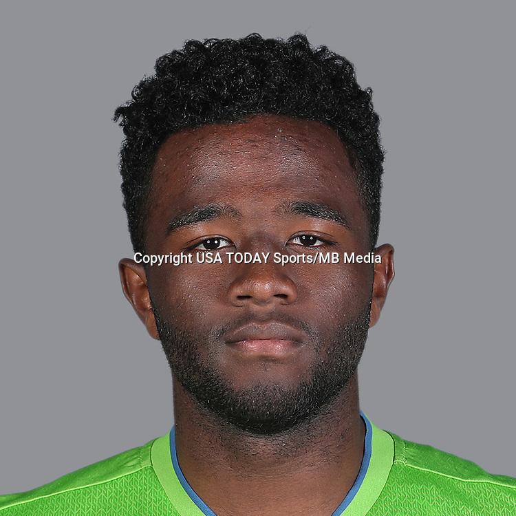 Feb 25, 2017; USA; Seattle Sounders FC player Seyi Adekoya poses for a photo. Mandatory Credit: USA TODAY Sports