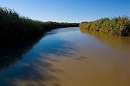 Alamo River, flowing into the Salton Sea, Imperial Valley, California
