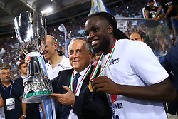 August 13, 2017 - Rome, Italy - Lazio owner Claudio Lotito and Jordan Lukaku of Lazio with the cup after winning the Italian SuperCup TIM football match Juventus vs Lazio on August 13, 2017 at the Olympic stadium in Rome. (Credit Image: © Matteo Ciambelli/NurPhoto via ZUMA Press)