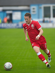 HAVERFORDWEST, WALES - Wednesday, August 10, 2011: Wales' Jake Taylor in action against Hungary during an Under-21 International Friendly at the Conygar Bridge Meadow Stadium. (Photo by Gareth Davies/Propaganda)