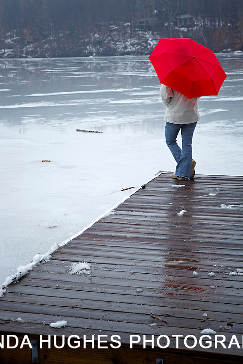 Woman Alone with Red Umbrella