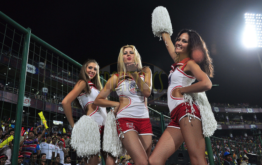 Delhi Daredevils cheer leaders pose for a picture during match 64 of the the Indian Premier League ( IPL) 2012  between The Delhi Daredevils and the Kings XI Punjab held at the Feroz Shah Kotla, Delhi on the 15th May 2012..Photo by Arjun Panwar/IPL/SPORTZPICS