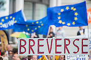 Breverse - A march for Europe brings out thousands of remain supporters who march from Hyde Park to Parliament Square.
