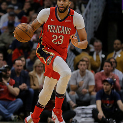 Apr 11, 2018; New Orleans, LA, USA; New Orleans Pelicans forward Anthony Davis (23) against the San Antonio Spurs during the first quarter at the Smoothie King Center. Mandatory Credit: Derick E. Hingle-USA TODAY Sports