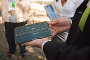 18414Academic & Research Center Groundbreaking September 29, 2007...Groundbreaking.Guests picking up ?Academic & Research Center? Athens-style bricks