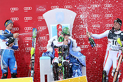 06.01.2013, Crveni Spust, Zagreb, CRO, FIS Ski Alpin Weltcup, Slalom, Herren, Podium, im Bild v.l.n.r. Andre Myhrer (SWE, Platz 2), Marcel Hirscher (AUT, Platz 1) und Mario Matt (AUT, platz 3) // f.l.t.r. 2nd place Andre Myhrer of Sweden, 1st place Marcel Hirscher of Austria and 3th place Mario Matt of Austria celebrate on podium of the mens Slalom of the FIS ski alpine world cup at Crveni Spust course in Zagreb, Croatia on 2013/01/06. EXPA Pictures © 2013, PhotoCredit: EXPA/ Pixsell/ Michal Glebov..***** ATTENTION - for AUT, SLO, SUI, ITA, FRA only *****
