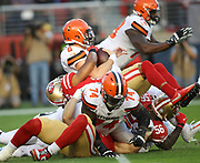 San Francisco 49ers defensive back K'Waun Williams (24) and Kwon Alexander (56) sack Cleveland Browns quarterback  Baker Mayfield (6) during an NFL football game, Monday, Oct. 7, 2019, in Santa Clara, Calif. The 49ers defeated the Browns (Peter Klein/Image of Sport)