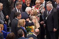 12 FEB 2017, BERLIN/GERMANY:<br /> Frank-Walter Steinmeier (M-L), neu gew&auml;hlter Bundespraesident, und Ursula von der Leyen (M-R), CDU, Bundesverteidigungsministerin, Gratulationen nach Steinmeiers Wahl zum Bundespraesident, 16. Bundesversammlung zur Wahl des Bundespraesidenten, Reichstagsgebaeude, Deutscher Bundestag<br /> IMAGE: 20170212-02-138<br /> KEYWORDS; Bundespraesidentenwahl, Bundespr&auml;sidetenwahl, gratuliert