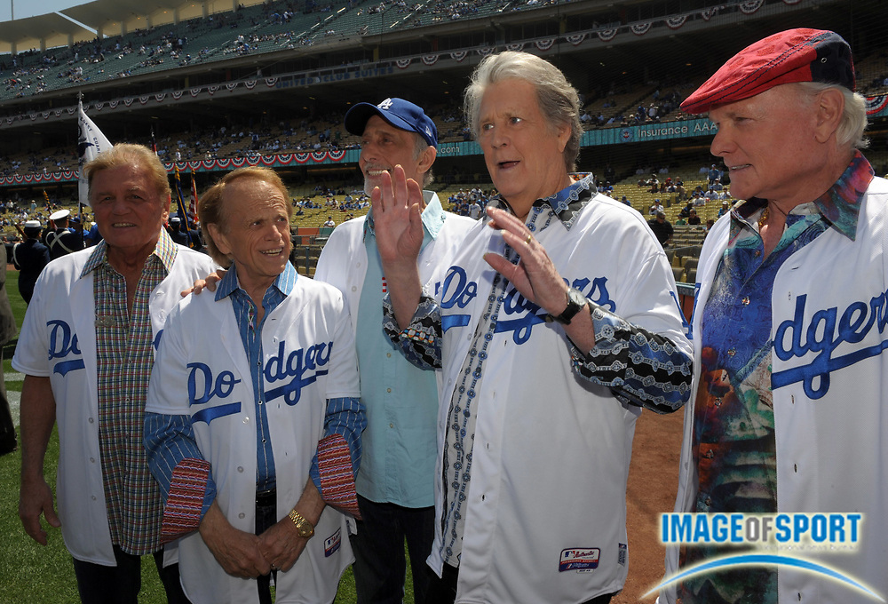Apr 10, 2012; Los Angeles, CA, USA; Recording artists Beach Boys at the 2012 opening day game between the Pittsburgh Pirates and the Los Angeles Dodgers at Dodger Stadium.