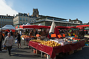 Rennes, FRANCE. General Views GV's. Rennes weekly regional market. Brittany,<br /> Vegetable's, Fruit, Flowers, Fish, Game, Meat, Cheese, local wine and cider, sold from stalls in the open and covered market  <br /> <br /> 09:10:08  Saturday  26/04/2014 <br /> <br />  [Mandatory Credit: Peter Spurrier/Intersport<br /> Images]