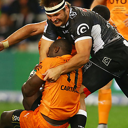 DURBAN, SOUTH AFRICA, 9,JULY, 2016 Andre Esterhuizen of the Cell C Sharks tackling Raymond Rhule of the Toyota Cheetahs during The Cell C Sharks vs Toyota Cheetahs  Super Rugby Match at Growthpoint Kings Park in Durban, South Africa. (Photo by Steve Haag)<br /> <br /> images for social media must have consent from Steve Haag