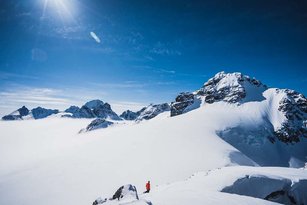 Sean Fraser beneath Solitaire Peak, Howson Range, British Columbia.