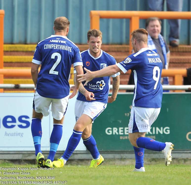 Barrow Celebrate their Equaliser by Dan Pilkington, Braintree Town v Barrow AFC, Avanti Stadium Braintree, Vanarama National League, Saturday, 12th September 2015 Braintree Town v Barrow AFC Saturday, 12th September 2015